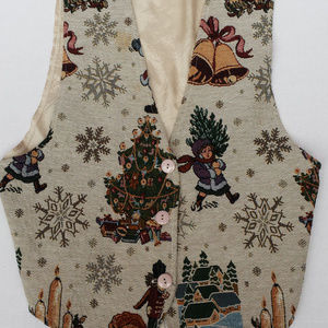 Vintage Christmas vest with tree, snowflakes, bell